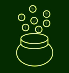 Pot with coins stpatrick s day vector