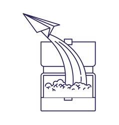 purple line contour of executive briefcase and vector image