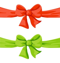 red and green bow isolated on white background vector image