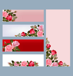 red rose banners print template vector image