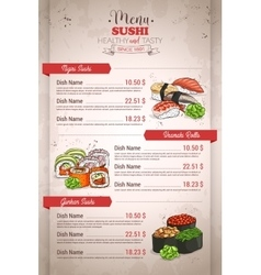 Restaurant vertical color sushi menu vector image
