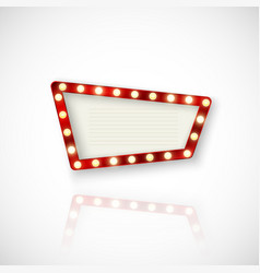 Retro sign signboard with shiny lights and vector