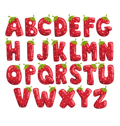 ripe fresh strawberry english alphabet bright red vector image