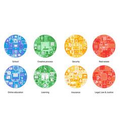 round color flat line concept creative process vector image
