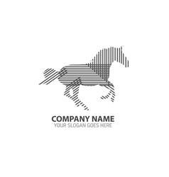 Running Horse Line Silhouette Logo Icon vector