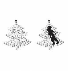 santa claus and smiling tree vector image