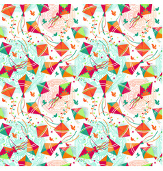 Seamless pattern with different colors kites vector
