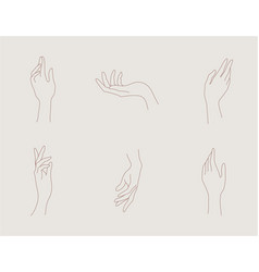 set abstract hand logo design template vector image