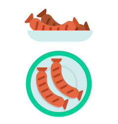 set grilled sausages in a plate icon flat vector image