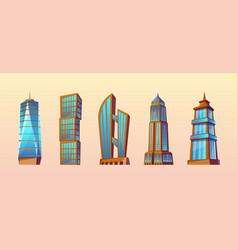 set modern buildings urban skyscrapers vector image