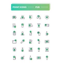 set of 30 line icons pub vector image