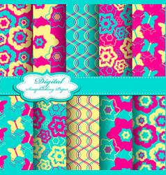 Set of abstract flower pattern scrapbook vector