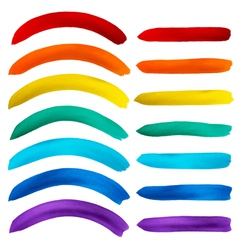 Set of watercolor rainbow stripes on white vector