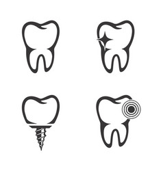 set tooth icons vector image