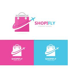 shop and plane logo combination sale vector image