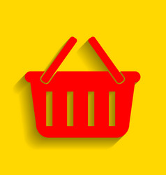 shopping basket sign red icon with soft vector image