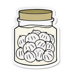 Sticker of a cartoon pickled onions vector