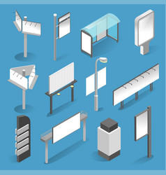 street billboard isometric set on white background vector image