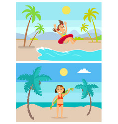 summer vacation kids having fun on vacations set vector image