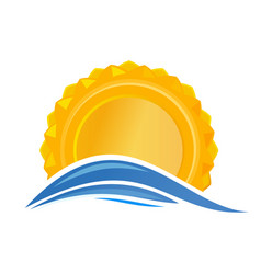 Sun over the sea sunrise logo icon vector