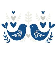 Traditional Folk Motif with Blue Birds vector