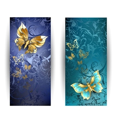 Two Banners with Gold Butterflies vector