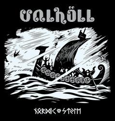 Warship vikings drakkar ancient vector
