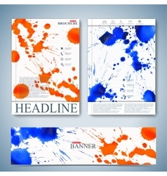 Watercolor template brochure magazine vector