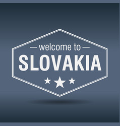 Welcome to slovakia hexagonal white vintage label vector