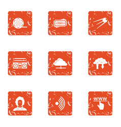 Wirelessly icons set grunge style vector