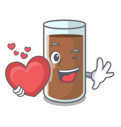 with heart fresh chocolate splash on pouring vector image