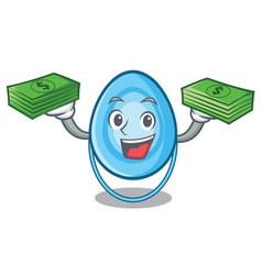 With money bag oxygen mask mascot cartoon vector