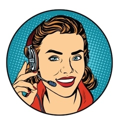 Woman customer support operator vector