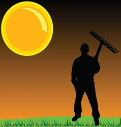 worker on a grass vector image