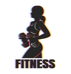 colorful fitness emblem vector image vector image
