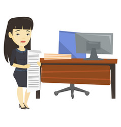 disappointed business woman holding long bill vector image vector image