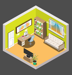 living room isometric vector image vector image