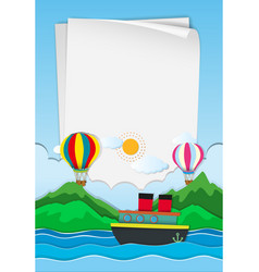 paper template with balloons in sky vector image