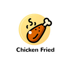 thin line chicken fried vector image vector image