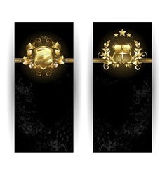 Two Banners with Shields vector image vector image