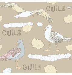 Vintage Seagulls Background vector image vector image