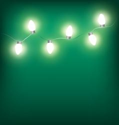 White led Christmas lights garland on cyan vector image