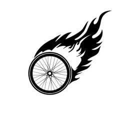 Burning symbol of a bicycle wheel vector image vector image