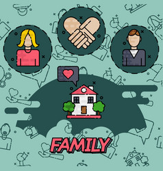family flat concept icons vector image