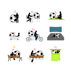 lover soccer set man and football ball in movie vector image