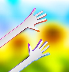 Paper Cut Hands on Colorful Blurred Sunflowers vector image vector image