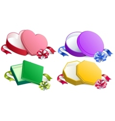 Set open gift box with ribbon and bow vector image vector image