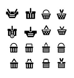 shopping cart icon set 16 item vector image vector image