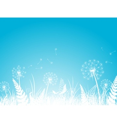 Silhouettes of dandelion vector