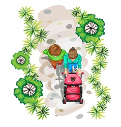 A topview of a family strolling at the park vector image vector image